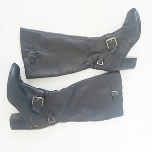 Alfani black leather buckle tall boots.